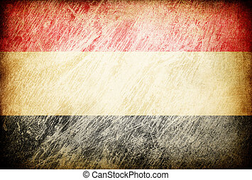 Grunge rubbed flag series of backgrounds. Yemen.