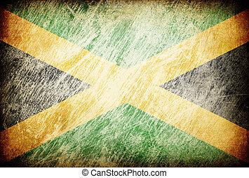 grunge, rubbeln, fahne, reihe, von, backgrounds., jamaica.
