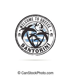 grunge rubber stamp Santorini with Greek flag illustration