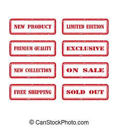 Grunge Rubber Stamp Set For A Shop. Vector Illustration