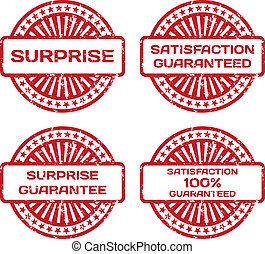 Grunge Rubber Stamp Set. Satisfaction Guarantee, Surprise. Vector Illustration
