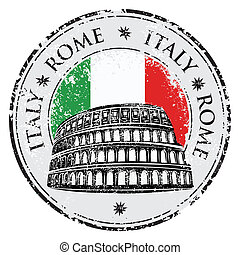 Grunge rubber stamp with Colosseum and the word Rome, Italy...