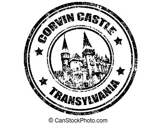 corvin castle - grunge rubber stamp with corvin castle...