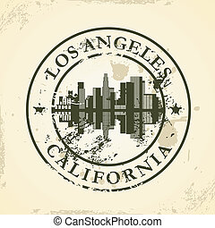 stamp with Los Angeles, California - Grunge rubber stamp...