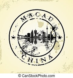 Grunge rubber stamp with Macau, China