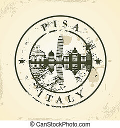 stamp with Pisa, Italy - Grunge rubber stamp with Pisa,...
