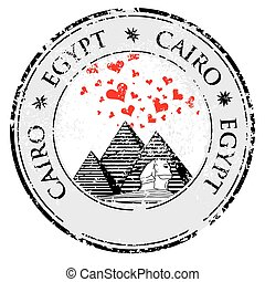 Grunge rubber stamp with Pyramid and the word Cairo, Egypt inside, vector