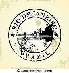 Grunge rubber stamp with Rio de Janeiro, Brazil