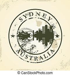 stamp with Sydney, Australia
