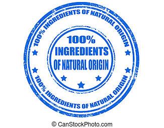 100% ingredients of natural origin - Grunge rubber stamp...