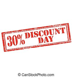 Grunge rubber stamp with text 30% Discount Day, vector illustration
