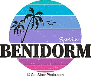 Grunge rubber stamp with text Benidorm,vector illustration