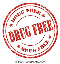 Drug Free - Grunge rubber stamp with text Drug Free,vector...