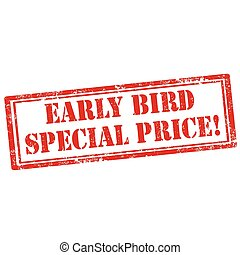 Early Bird - Grunge rubber stamp with text Early Bird, ...