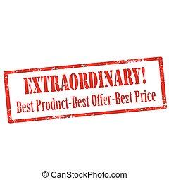 Grunge rubber stamp with text Extraordinary-Best Product, Best Offer, Best Price, vector illustration