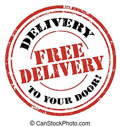 Free Delivery - Grunge rubber stamp with text Free...