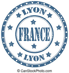 Lyon-France - Grunge rubber stamp with text...