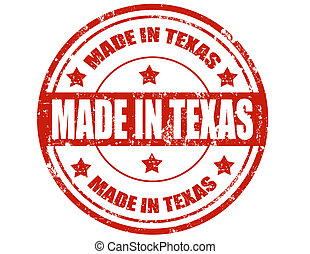 Made in Texas - Grunge rubber stamp with text Made in...