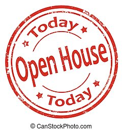 Open House Today - Grunge rubber stamp with text Open House...