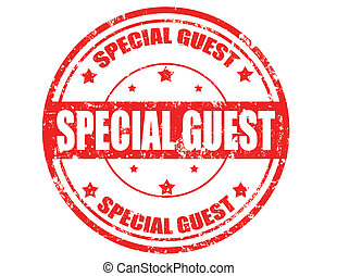 Special guest - Grunge rubber stamp with text Special guest...
