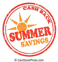 Summer Savings - Grunge rubber stamp with text Summer...
