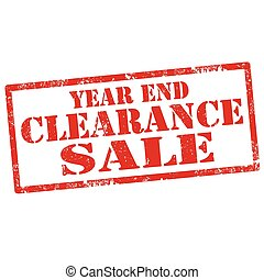 Year End Clearance Sale - Grunge rubber stamp with text Year...