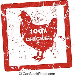 Grunge rubber stamp with the text 100 percent chicken written inside