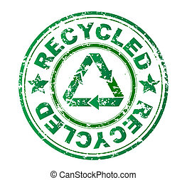 stamp with the word recycled