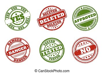 Grunge rubber stamps. Approved and deleted, yes no. Tested or danger green red vector