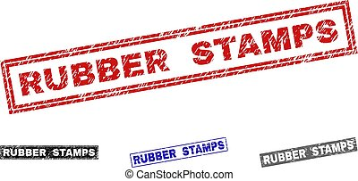 Grunge RUBBER STAMPS Textured Rectangle Stamps