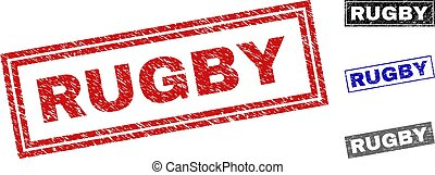 Grunge RUGBY Scratched Rectangle Watermarks