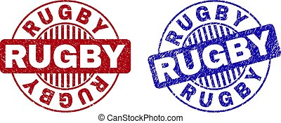 Grunge RUGBY Scratched Round Stamps