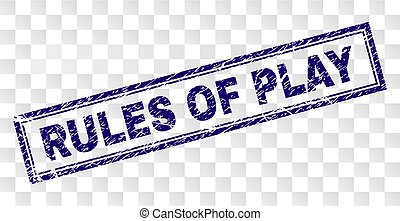 Grunge RULES OF PLAY Rectangle Stamp
