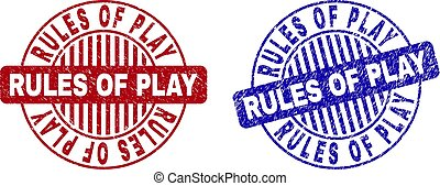 Grunge RULES OF PLAY Textured Round Stamps