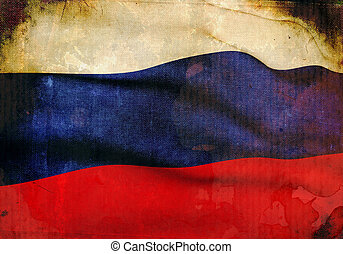 Russian Flag on old and vintage grunge texture