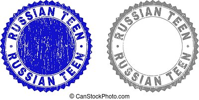 Grunge RUSSIAN TEEN Scratched Stamp Seals