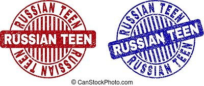 Grunge RUSSIAN TEEN Textured Round Stamps