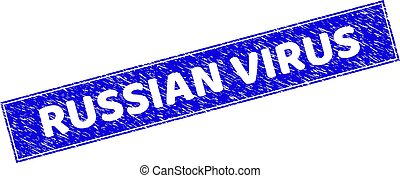 Grunge RUSSIAN VIRUS Scratched Rectangle Stamp