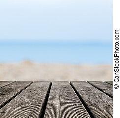 grunge, rustiek, echte, hout logeert, op het strand, oever,...