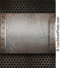 grunge rusty metal plate over grid background
