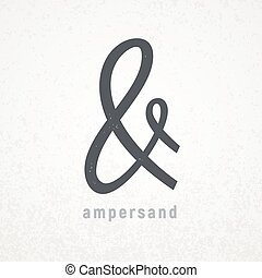 grunge, símbolo, elegante, vetorial, fundo, ampersand.