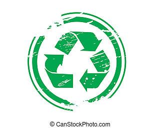 grunge, símbolo reciclando, borracha