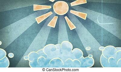 grunge, słońce, chmury, loopable