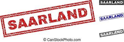 Grunge SAARLAND Textured Rectangle Stamp Seals