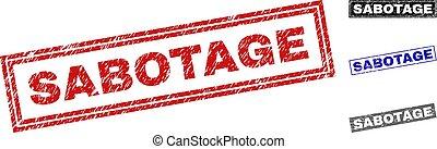 Grunge SABOTAGE Scratched Rectangle Stamp Seals