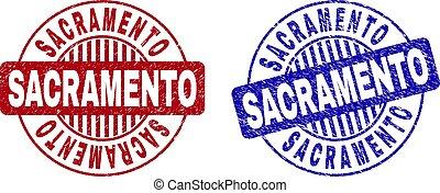 Grunge SACRAMENTO Scratched Round Stamp Seals