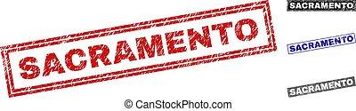 Grunge SACRAMENTO Textured Rectangle Stamps