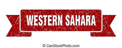 grunge, sahara, ribbon., faixa, ocidental, vermelho, sinal