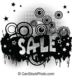 Grunge sale advertisement with circles and spots