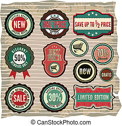grunge sale labels, badges and icon